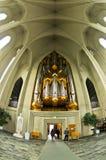 Pipe organ inside Hallgrimskirkja, Reykjavik cathedral Royalty Free Stock Image