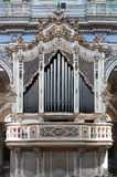Pipe organ inside San Giorgio Church, Modica, Sicily, Italy. Vie of the gorgeous pipe organ inside Saint Giorgio church the baroque cathedral of Modica in Royalty Free Stock Image