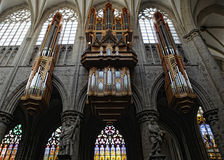 Pipe organ in Interior of St. Michael and St. Gudula Cathedral, Royalty Free Stock Photos
