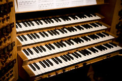 Pipe Organ Keys Royalty Free Stock Images