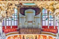 Pipe organ, Palau de la Musica Catalana, Barcelona, Catalonia, S. BARCELONA - AUGUST 8: Pipe organ of Palau de la Musica Catalana, modernist Concert Hall royalty free stock image