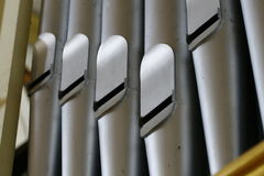 Pipe Organ, close up. Closed composition of pipe organ Royalty Free Stock Photos