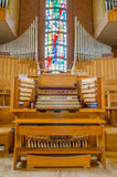 Pipe organ. Stained glass window church Stock Photos