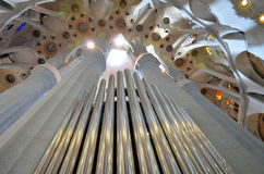 Pipe organ in the Sagrada Familia Cathedral,Barcelona,Spain. Stock Photography
