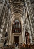 Pipe organ of Saint-Eustache church in Paris France. Paris, France - 24 March 2019: interior of the church of Saint Eustache. Situated near the site of Paris` royalty free stock photography