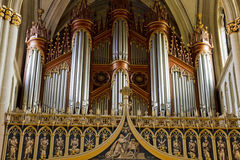 Pipe organ St. Nicholas cathedral Fribourg Stock Image