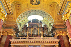 Pipe organ of St. Stephen's Basilica, Budapest. Stock Photo