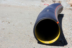 Pipe. Plastic sewage corrugated flexible pipe on the ground Royalty Free Stock Images