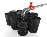 Pipe pouring oil into black barrels Royalty Free Stock Photo
