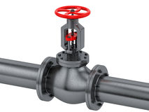 Pipe with a red valve Stock Photo