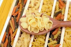 Pipe rigate pasta. A spoon of pipe rigate pasta on many kind of pasta tray Stock Photos