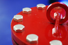 Pipe sealing with bolted end. Red pipe sealing with bolted end Stock Images
