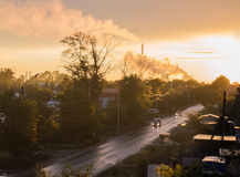 Pipe with smoke polluting the atmosphere, environmental problems in the city Stock Photos