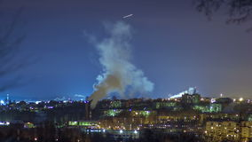 Pipe With Smoke In Winter Night stock video footage