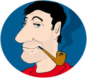 Pipe smoker. Big nosed man smoking pipe Royalty Free Stock Photography