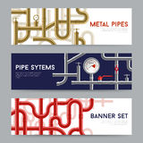 Pipe System Banners Set Royalty Free Stock Image