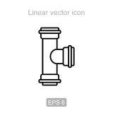 Pipe tee - 90 degrees. Linear icon. Stock Photo