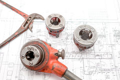 Pipe thread cutter. On an plan of an house is there an pipe thread cutter Royalty Free Stock Image