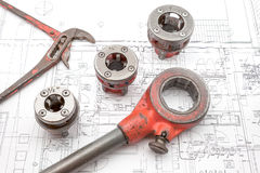 Pipe thread cutter. On an plan of an house is there an pipe thread cutter Royalty Free Stock Images