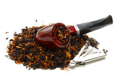 Pipe and tobacco. Tobacco and pipe on a white background Stock Images