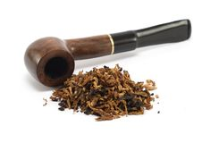 Pipe and tobacco. A wood pipe and tobacco with white background Stock Photo