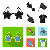 Pipe, uniform and other attributes of the fans.Fans set collection icons in black, flat style vector symbol stock. Illustration Royalty Free Stock Photography