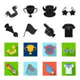 Pipe, uniform and other attributes of the fans.Fans set collection icons in black,flet style vector symbol stock. Illustration Stock Photography