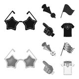 Pipe, uniform and other attributes of the fans.Fans set collection icons in black,monochrom style vector symbol stock. Illustration Royalty Free Stock Images