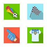 Pipe, uniform and other attributes of the fans.Fans set collection icons in flat style vector symbol stock illustration Royalty Free Stock Photo