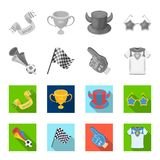 Pipe, uniform and other attributes of the fans.Fans set collection icons in monochrome,flat style vector symbol stock. Illustration Royalty Free Stock Photos