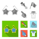 Pipe, uniform and other attributes of the fans.Fans set collection icons in monochrome,flat style vector symbol stock. Illustration Stock Image