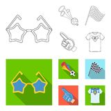 Pipe, uniform and other attributes of the fans.Fans set collection icons in outline,flat style vector symbol stock. Illustration Royalty Free Stock Photography