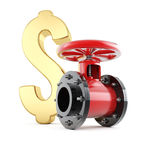 Pipe valve and dollar sign Royalty Free Stock Image