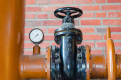 Pipe, valve, flange, iron pipe, shifter. Technology Royalty Free Stock Photo
