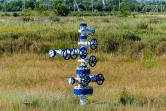 The pipe and valve of oil fields. equipment for oil and gas development Royalty Free Stock Image