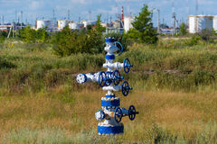 The pipe and valve of oil fields. equipment for oil and gas development Royalty Free Stock Photography