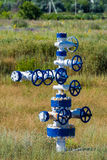 The pipe and valve of oil fields. equipment for oil and gas development Stock Photo