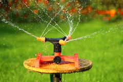 Pipe for watering the garden. On a stand rotates and sprays water Royalty Free Stock Photos