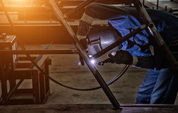 Pipe welding on the pipeline Royalty Free Stock Image
