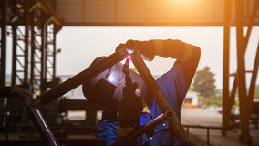 Pipe welding on the pipeline Royalty Free Stock Photography