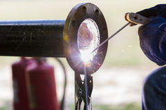 Pipe welding work Stock Photography