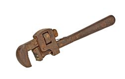 Pipe Wrench. Rusty pipe wrench isolated on a white background Royalty Free Stock Image