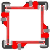 Pipe wrench photo frame. Vector art illustration; more photo frames in my gallery Stock Images