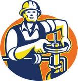 Pipefitter Oil Worker Tighten Pipe Valve Stock Images