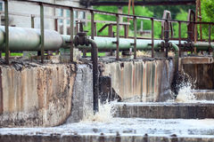 Pipelaines for oxygen aeration of sewage stock image