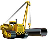Pipelayer. Vectorial image of yellow pipelayer isolated on white background Royalty Free Stock Images