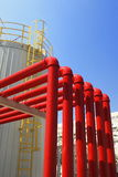 Pipeline. Factory Pipeline metal illustration assembly blue sky Royalty Free Stock Photo