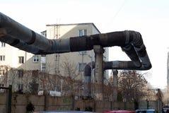 Pipeline. Hot water pipeline in a suburban neighborhood Stock Photos