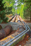 Pipeline. Sewage pipeline running through a wooded forest to a waste treatment plant Stock Photos