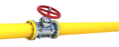Pipeline. Yellow pipeline with red valve Stock Photo